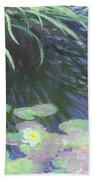 Nympheas Avec Reflets De Hautes Herbes Beach Towel