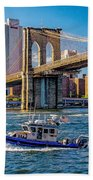 Nypd On East River Beach Towel