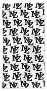 Nz New Zealand Black On White Beach Towel