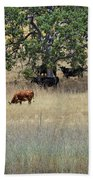 Oak Tree And The Cows Beach Towel