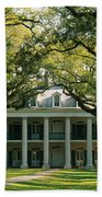 Oak Trees In Front Of A Mansion, Oak Beach Towel