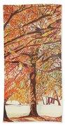 Oak Trees In The Park Beach Towel