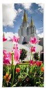 Oakland Pink Tulips Beach Towel