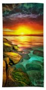 Ocean Lit In Ambiance Beach Towel