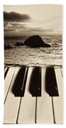 Ocean Washing Over Keyboard Beach Towel by Garry Gay