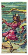 Octopus Attack, 1900s French Postcard Beach Towel
