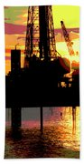 Offshore Drilling Rig Sunset Beach Towel