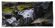 Ogwen Rock Waterfall Beach Towel