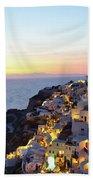 Oia Village In Santorini Island - Greece Beach Towel
