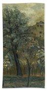 Oil Painting House Tree Beach Towel