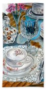Oil Painting Still Life China Tea Set Beach Towel