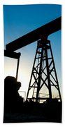 Oil Rig Silhouette Beach Towel