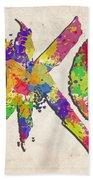Okc Typography Watercolor Beach Towel
