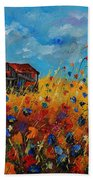 Old Barn And Wild Flowers Beach Towel