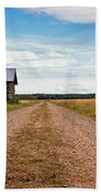 Old Barn By The Gravel Road Beach Towel