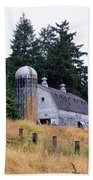 Old Barn In Field Beach Towel by Athena Mckinzie