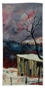 Old Barn In Winter Beach Towel