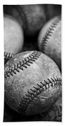 Old Baseballs In Black And White Beach Towel by Edward Fielding