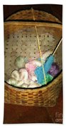 Old Basket New Yarn Beach Towel