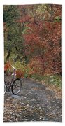 Old Bike In Autumn Beach Towel