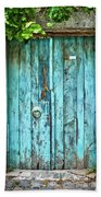 Old Blue Door Beach Towel by Delphimages Photo Creations