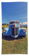 Old Blue Truck Vermont Beach Towel