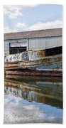 Old Boats Along The Exeter Canal Beach Towel