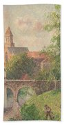 Old Bridge In Bruges  Beach Towel by Camille Pissarro