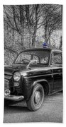 Old British Police Car And Tardis Beach Towel