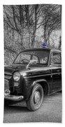 Old British Police Car And Tardis Beach Sheet