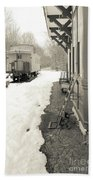 Old Caboose At Period Train Depot Winter Beach Towel