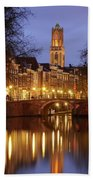 Old Canal And Dom Tower In Utrecht In The Evening 16 Beach Towel