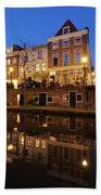 Old Canal In Utrecht At Dusk 211 Beach Towel