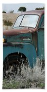 Old Chevy Farm Truck In The Field Beach Towel