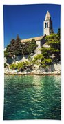 Old Church On Croatian Island Beach Towel