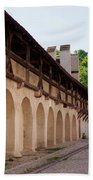 Old City Wall In St Alban Basel Switzerland Beach Towel