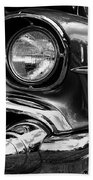 Old Classic Car In Black And White Beach Towel