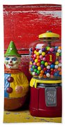 Old Clown Toy And Gum Machine  Beach Towel by Garry Gay