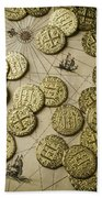 Old Coins On Old Map Beach Towel