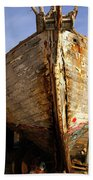 Old Dilapidated Wooden Boat  Beach Towel