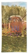 Old Dodge Truck In Garden Beach Towel