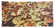 Old Fashion Landmark Buttons Beach Towel