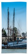 Old Fishing Boat In Port Beach Towel