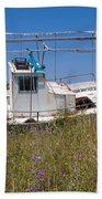 Old Fishing Boat Beach Towel