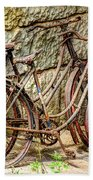 Old French Bicycles Beach Towel by Debra and Dave Vanderlaan