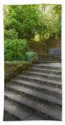 Old Garden With Stone Walls And Stair Steps Beach Towel