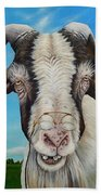 Old Goat - Painting By Cindy Chinn Beach Towel