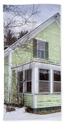 Old Green And White New Englander Home Beach Towel