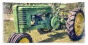 Old Green Vintage Tractor Watercolor Beach Sheet
