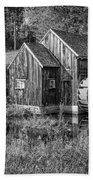 Old Grist Mill In Vermont Black And White Beach Towel